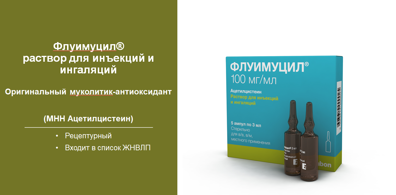 Флуимуцил® розчин для ін'єкцій та інгаляцій (МНН Ацетилцистеїн)